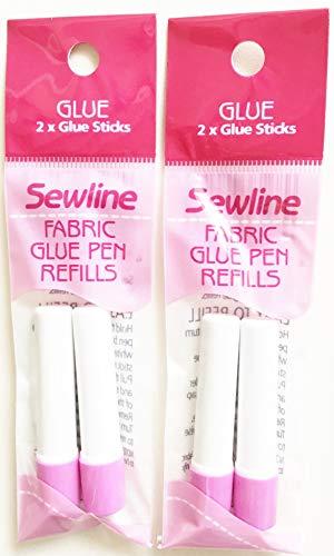 Sewline Stoffklebestift-Nachfüllpackung, 2 Stück, EPP, nadelloses Nähen und Papieranheften, trocknet klar
