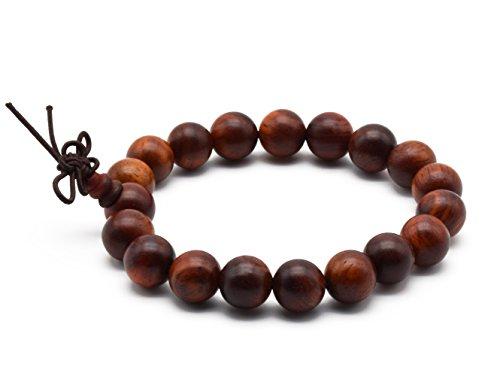 Zen Dear Unisex Natural Rosewood Prayer Beads Buddha Buddhist Prayer Meditation Mala Necklace Bracelet (10mm 19 Beads)
