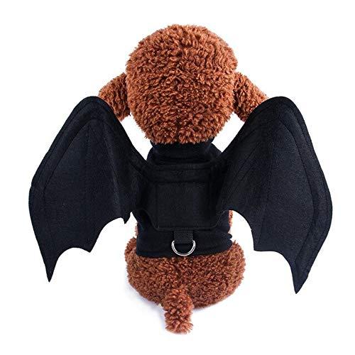 Traje De Gato Disfraces De Halloween For Perros Mascotas Plegable Alas De Murciélago Vampiro Negro Vestido De Suposición Linda De Halloween del Perro Casero hasta Vestirse Apoyos Cosplay (Size : L)