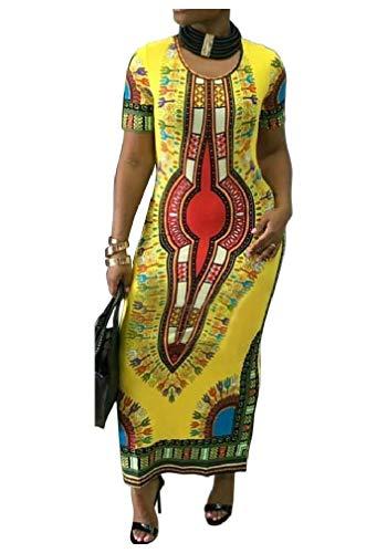 Beeatree - Vestido largo para mujer con estampado africano y estampado floral
