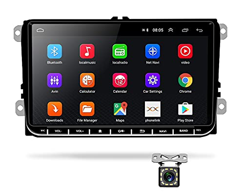 Radio Coche 2 DIN Android 8.1, Podofo Autoradio Bluetooth con 9 Pulgadas Pantalla Táctil para VW Seat Passat Golf Skoda, Soporta WiFi GPS Mirror Link Radio FM MP5 Doble USB + Cámara de Respaldo