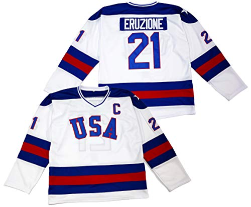 Mike Eruzione #21 1980 Miracle On Ice USA Hockey Jersey (Large) White