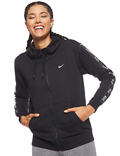 Nike Damen W NSW Hoodie FZ Logo Tape Sweatshirt, Black/White, M