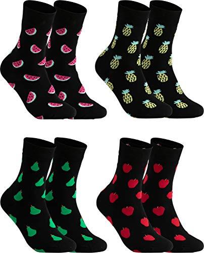 gigando Socken 4 Paar mit Frucht-Motiven Apfel, Ananas, Birne, Melone, Hochwertige Obst Baumwollsocken mit weichem Bund gegen Einschnüren, ohne Naht an den Zehen, 35-38