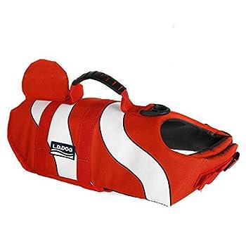 Petilleur Gilet de Sauvetage pour Chien Gilet de Flottaison pour Chien avec Poignée (L, Orange)