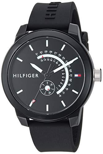 Price comparison product image Tommy Hilfiger Men's Denim Quartz Watch with Silicone Strap,  Black,  19.4 (Model: 1791483)