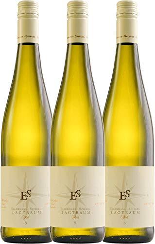 VINELLO 3er Weinpaket Weißwein - Tagtraum 2020 - Ellermann-Spiegel mit Weinausgießer | halbtrockener Weißwein | deutscher Sommerwein aus der Pfalz | 3 x 0,75 Liter