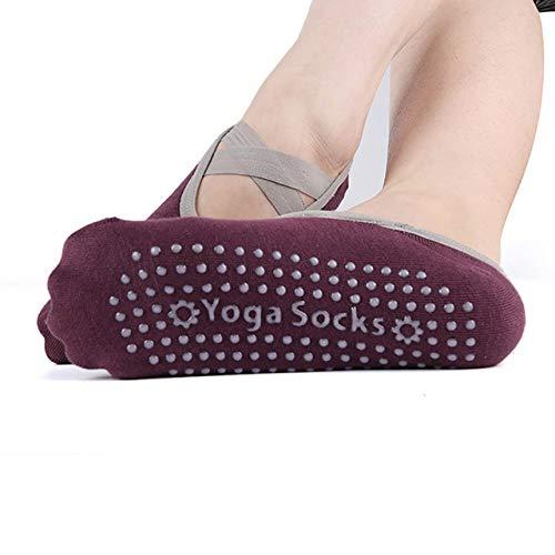 LILONGXI Pilates Sokken, Womens Wijn Rood Breien Yoga Sokken Anti Slip Sticky Bodem Sokken Workout Pilates Grip Sok Voor Vrouw Dans Slippers Fitness Ballet Socken(3st)