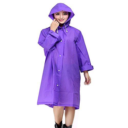 Regenponcho Regenjacke Regenmantel für Männer und Frauen, EVA Poncho Tragbarer Umgebungslicht Regenmantel für das Fahrrad 145*70cm (lila)