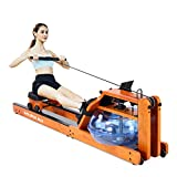 RUNOW Water Rower Rowing Machine Oak Wooden Rowing Machines for Home Use Gyms with LCD Monitor Indoor Fitness Exercise Workout Equipment
