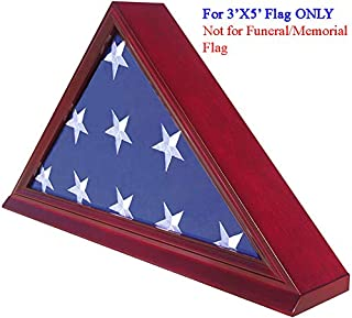 Flag Display Case Stand Shadow Box for Folded 3'X5' American Flag. (NOT for Memorial or Funeral Flag), Solid Wood