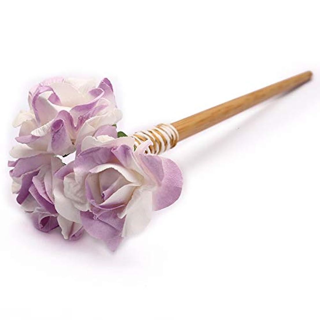 深める絶滅不十分なHuaQingPiJu-JP 古典的な花のヘアクリップのマニュアル宮殿の婚礼アクセサリーエレガントなコートのヘアクリップのギフト(ライトパープル)