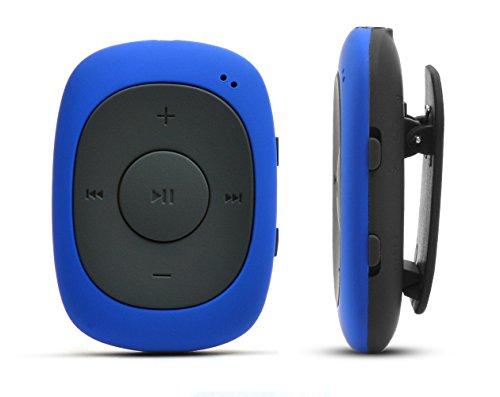 AGPtek Badge G02 - Lettore MP3 con pinza e funzione radio FM, supporto dei formati MP3, WMA, WAV, 8 GB, colore: Blu