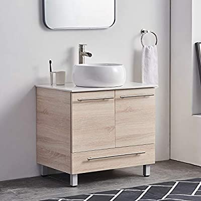 """28"""" Stand Cabinet Bathroom Vanity,Light Grain Bathroom Combo Cabinet with Counter Top White Ceramic Vessel Sink One Drawer and Closing Doors"""