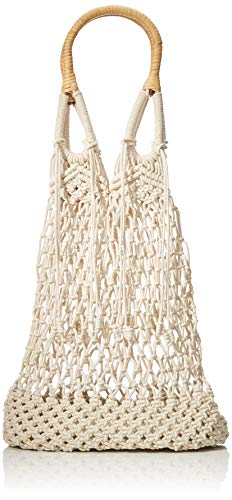 PIECES Damen Pccherry Macrame Bag Henkeltasche, Weiß (Nature), 12x32x46 cm