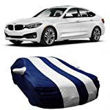 DRIZE Car Cover for BMW 3 Series GT with Triple Stitched Fully Elastic Ultra Surface Body Protection (Strips White with Mirror Pockets)