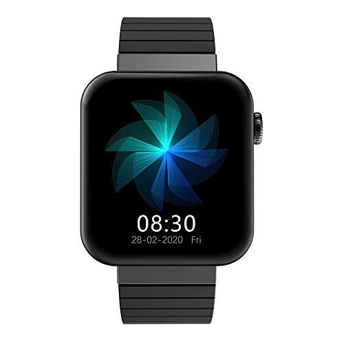 QXbecky Reloj Inteligente Llamada Bluetooth iOSReloj Android Control de música Cronómetro Rastreador de Ejercicios Salud Pulsera Reloj Negro