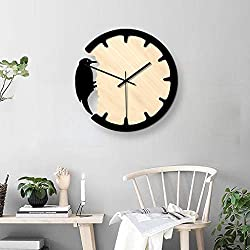NIHAI Wooden Woodpecker Wall Clock, 11.4 x 10.2inch, Modern Designed Clock, Silent Wall Clock for Bedroom Living Room Office Room Decoration Home Decor