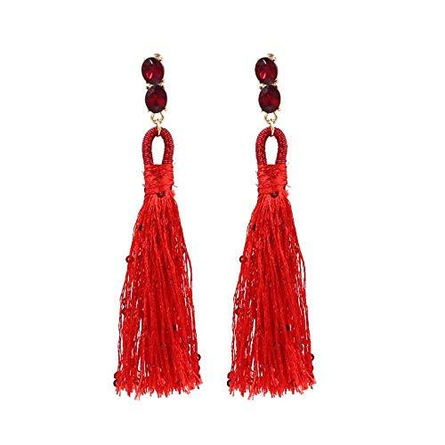 KAD Novedad Joyas-Mujeres Pendientes Pendientes Pendientes Pendientes de gota Oreja, Moda Pendientes étnicos Pendientes de borla largos tejidos a mano Rojo, Regalo de cumpleaños para muj