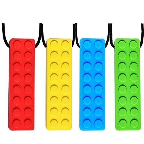 Collana Da Masticare, 4 Pezzi Collana Da Masticre Sensoriale, Silicone Collana Dentizione, Per Bambini Con ADHD, Dentizione, Autismo, Bisogni Mordaci, Materiale Di Sicurezza in Silicone Alimentare