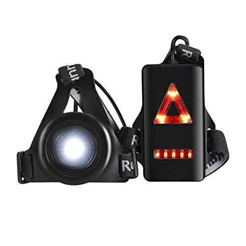 FSHB Camping en Plein Air Lumières De Course LED Nuit Lampe de Poche Avertissement Lumière USB Charge Poitrine Lampe Vélo Cyclisme Sécurité Survie Outil, Noir