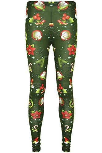 Fashion Star Girls Xmas Rudolph Reindeer Penguin Leggings Reindeer&Stocking Green Age 7/8 years