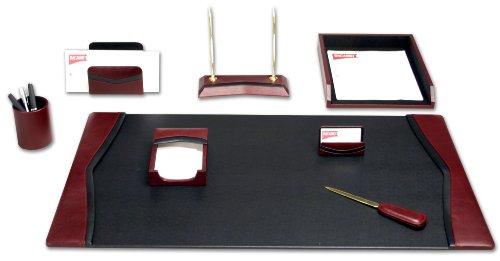 Dacasso Schreibtisch-Set, Leder, Burgunderrot, 8-teilig