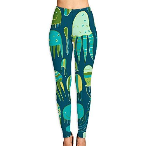 Yoga-Hosen-Sport-Trainingsgamaschen Funny Jellyfishes Printed Womens Ultra Soft Leggings Fashion High Waist Yoga Pants Beautiful Sport Workout Leggings