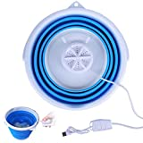 Mini Washing Machine, Portable Personal Rotating Ultrasonic Turbines Washer with Foldable Tub USB Convenient Laundry for Camping Apartments Dorms RV Business Trip (Blue)