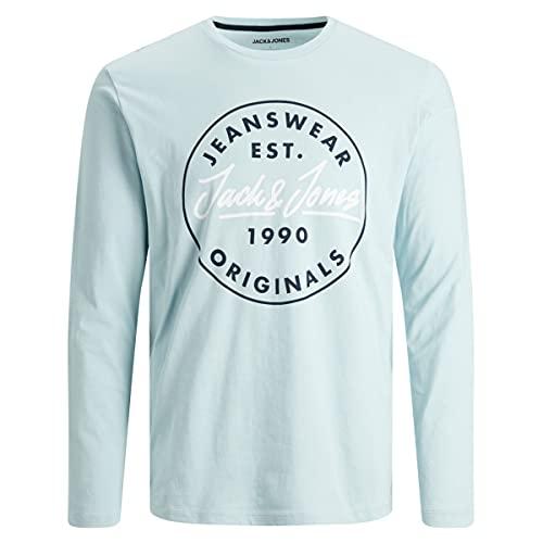 Jack & Jones Jjherro Tee Ls Crew Neck T-Shirt, Hiver/Coupe : Pluie, S Homme