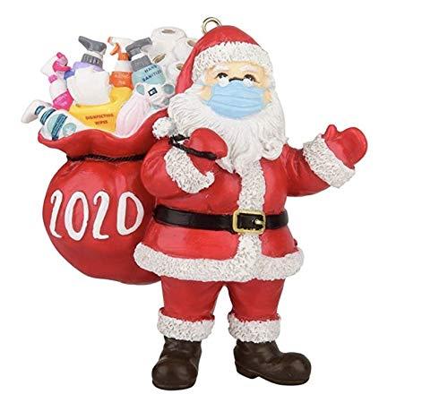 Santa Claus Quarantined Christmas Ornament 2020,Santa Face Mask Onament 2020,Santa Claus with Mask On,Quarantine Santa Xmas Ornament 2020