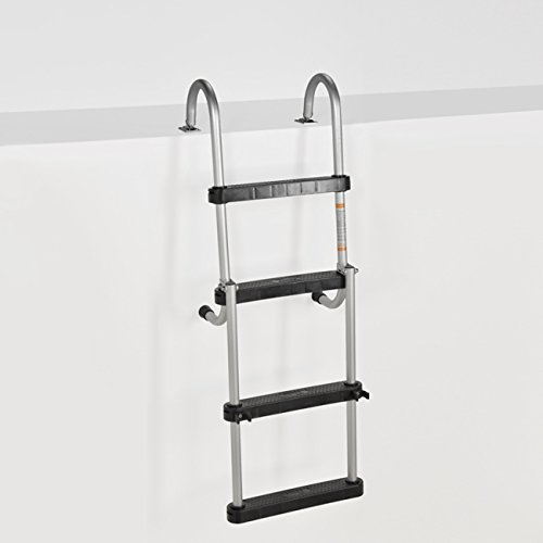 RecPro Marine Pontoon Boat 4 Step Folding Boarding Ladder AL-B4