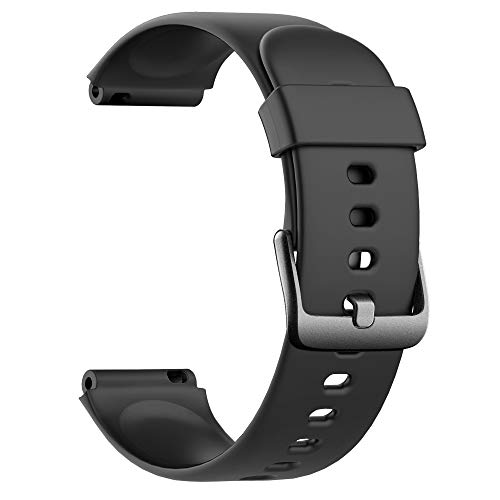 Soft Silicone Smart Watch Bands Replacement Straps Bands(23mm) for Willful ID205L Smart Watch (Black)