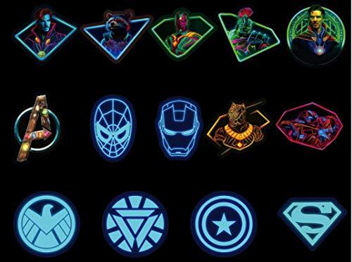 Calcomanía luminosa de Marvel Vengadores de dibujos animados Maleta portátil Guitarra, monopatín, 50 unidades