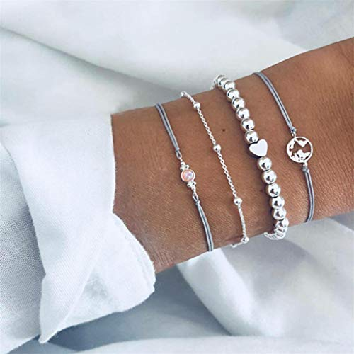 Garispace Frauen Armband Set Map Opal Perlenkette Armband Satz Böhmisches Armband Mehrschichtiges Armband Set Frauen Armband Schmuck Geschenk böhmisches mehrschichtiges Armband