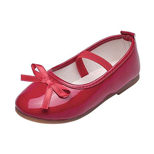 Topgrowth Scarpe da Bambina Pelle Eleganti Ballerina Ragazze Casuale Scarpe da Principessa Danza Sneaker (30, Rosso)