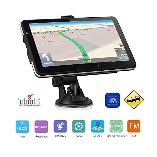 DBPOWER Navigationsgerät 7 Zoll LKW PKW Wohnmobil TMC Stauumfahrung, Verkehrsmeldungen in Echtzeit 8GB/256M Navigation Navi GPS