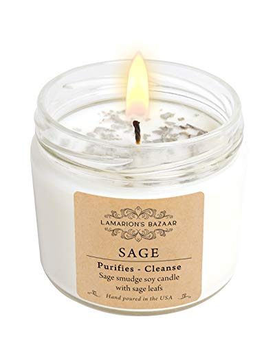 Sage - White Sage Smudge Candle with Natural Sage Leafs - Purifies & Cleanse - Large Soy Candle in a Kraft Box