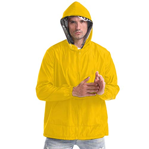 Protective Breathable Jacket with Hood and Detachable Face Cover for Men Women Summer Outdoor Active M Yellow