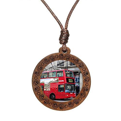 TTDAltd Collar Vintage London Bus Collar Rojo Autobús de Dos Pisos Cartel de Arte Colgante de Madera Cuerda Cadena Gargantilla Bronce - D