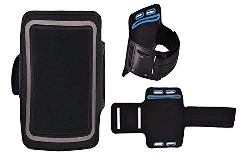 Design Sport-Armband Tasche in Schwarz für Sony Mobile Xperia XZ Premium Neopren Anti Rutsch mit Reflektion Schlüssel/Kopfhörer Halter Reißverschluss und 2 Einstellungsmöglichkeiten