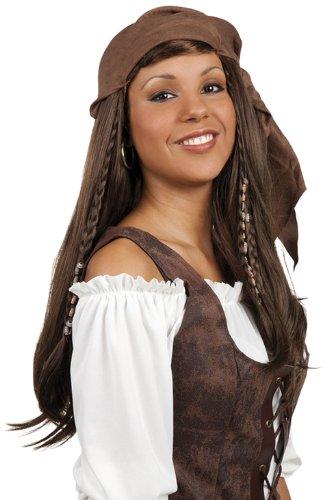 Générique - Pe636 - Perruque Pirate Dame avec Fichu - Taille Unique