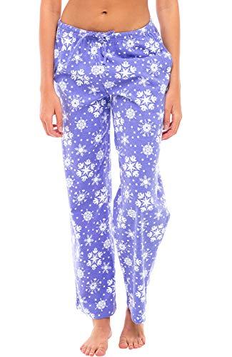 Alexander Del Rossa Women's Flannel Pajama Pants, Long Cotton Pj Bottoms, Large Purple Snowflake (A0702Q54LG)