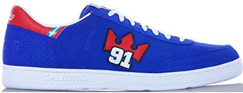 Salming NinetyOne Shoe 91 Indoor Hallenschuhe Sneaker Handballschuhe Torwartschuhe blau/rot/weiß, Schuhgröße:EUR 42.5
