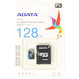 ADATA Premier 128GB MicroSDHC/SDXC UHS-I Class 10 V10 A1 Memory Card with Adapter Read up to 100 MB/s (AUSDX128GUICL10A1… 1 UHS-1 Class 10 V10 Video Speed Class A1 Qualified High speed transfer rate. Read up to 100 MB/s Ideal for mobile and smart phones, tablets, tablet PCs, DSLR, camcorder, action camera, and drones