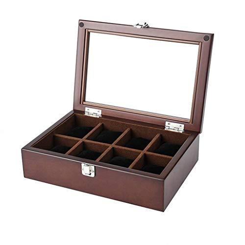 GOVD Uhrenkasten Herren Holz Aufbewahrungsbox mit großen Fächern, für Herren Damen Uhren B