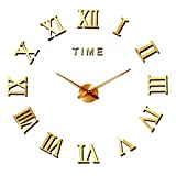 Mute DIY Reloj de Pared con Adhesivo 3D, Sin Marco, Tamaño Grande, para Decorar La Oficina o Casa,Plateado-2 Años de Garantía (Oro)