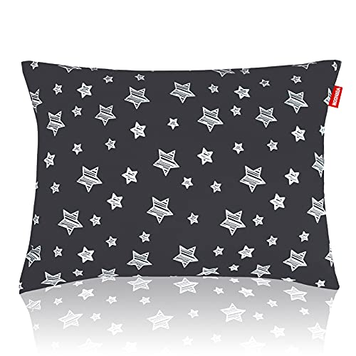 Toddler Pillows Star Print, Toddler Pillow for Sleeping, Ultra Soft Kids Pillows for Sleeping, 14 x 19 inch Perfect for Travel, Toddler Cot, Baby Crib, No Pillowcase Needed (Black Star)