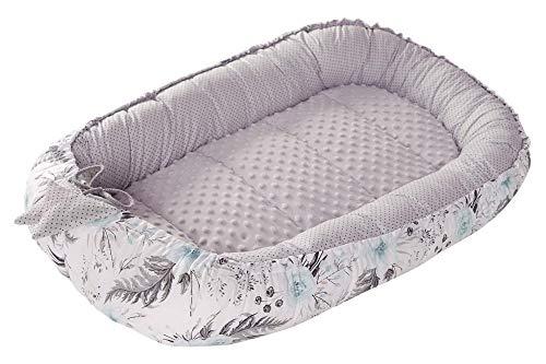 Babynest Kuschelnest Babynestchen 100% Baumwolle Nestchen Reisebett für Babys Säuglinge Medi Partners 90x50x13cm herausnehmbarer Einsatz (Blument mit grauen Minky)