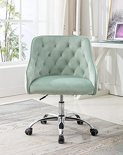 Velvet Home Office Desk Chair, Modern Swivel Armchair, Comfy Task Chair with Height Adjustable, Upholstered Tufted Computer Chair for Working or Studying (Mint Green)
